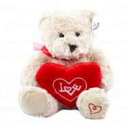 """Мишка белый с сердцем """"Love """" 30 см."""