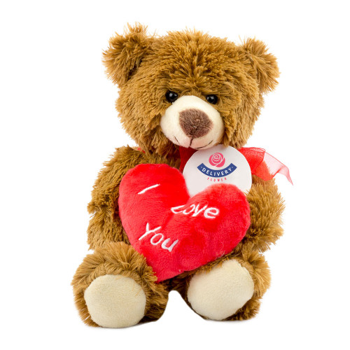"""Мишка коричневый с сердцем """"I Love You"""" 25см."""