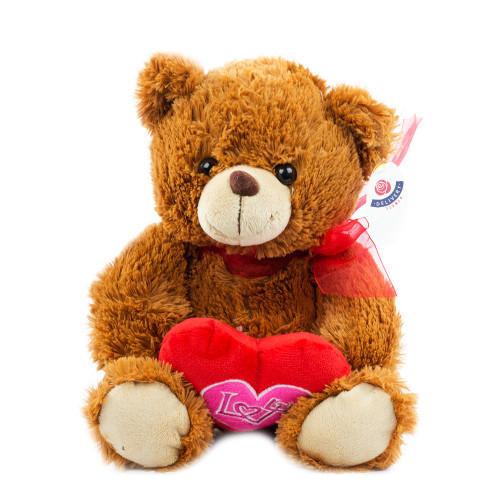 """Мишка коричневый с сердцем """"Love"""" 27см."""