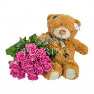 Мишка и 15 роз